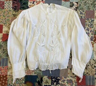 Antique Victorian White Cotton Blouse Bodice Floral Whitework Embroidery Lace