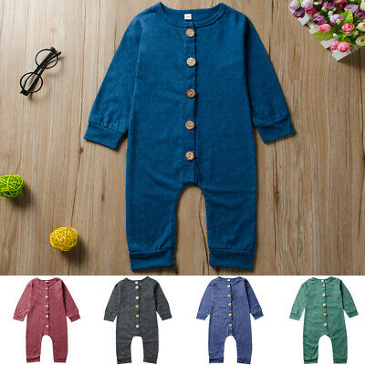 Toddler Infant Kids Baby Boys Girls Long Sleeve Solid Jumpsuit Romper Outfits