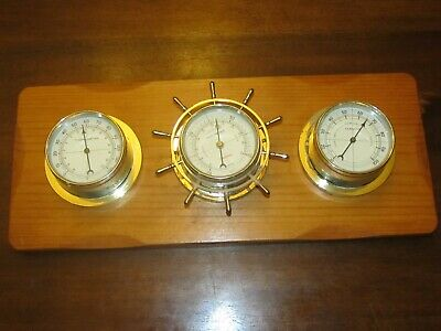 Vintage Sunbeam Barometer Humidity Thermometer Hardwood Nautical MADE IN USA