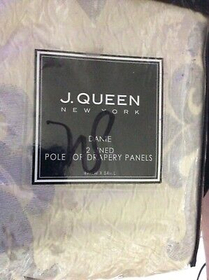 New J Queen Dante 2 Lined Pole Top Drapery Panels Drapes