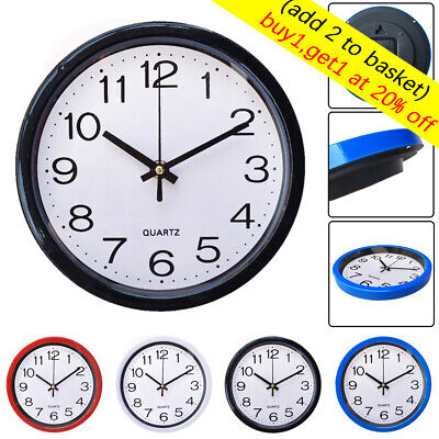 1 PC Modern Round Quartz Bell Sweep Second Movement Silent Wall Clock UK ~