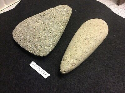 GD-10/22A Pre-Columbian Southern Arawak Lot of 2 Basalt Axes Ca300bc-900ad