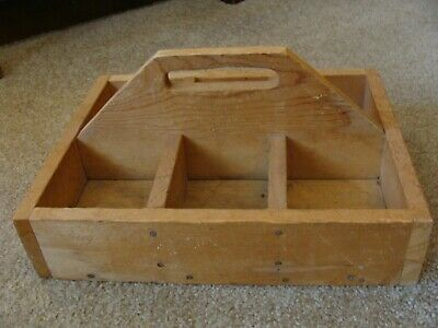 Vintage Antique Wood Carpenters Tool Box Rustic Primitive Carrying Tote Caddy