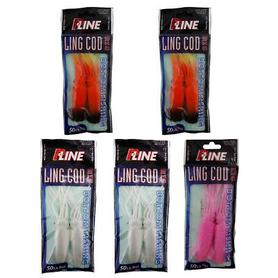 """15 Packs 4.5/"""" Ling Cod Squid Rig Two Bulb Rigged Squid Saltwater Lures Combo"""