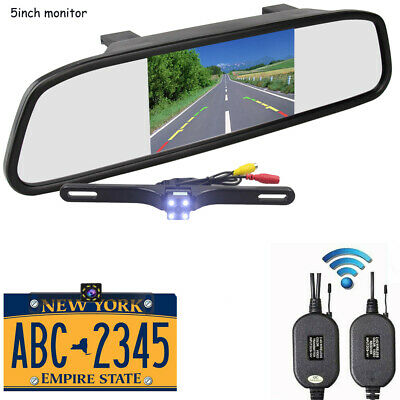 "Wireless Backup Camera Parking Reverse Kit Car Rear View 5/"" LCD Monitor Mirror"