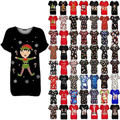 Ladies Womens Christmas Elf Candy Stick Snowflakes Xmas Oversized Baggy T Shirt