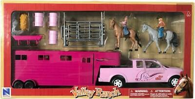 NEW Valley Range Pink Pick Up & Trailer With Horses from Mr Toys