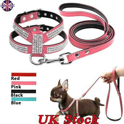 UK Rhinestone Dog Harness Leather Bow Bling Diamante Collar Crystal Pet Puppy