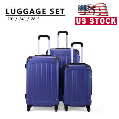 3 Piece Luggage ABS Lightweight Hardside Spinner Nested Travel Suitcase Set Blue