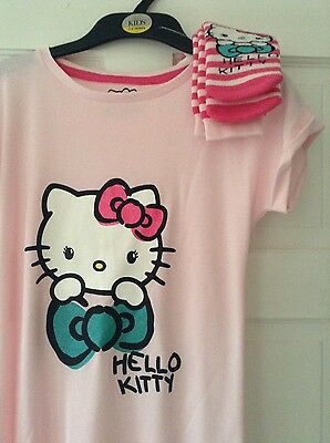 'HELLO KITTY' PINK NIGHTDRESS NIGHTIE AND SOCKS SET. 7 to 8 yrs. BNWT. M & S
