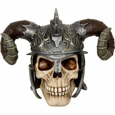 Viking Skull Helmet with Horns Statue Figurine Ornament Skeleton Bone Medieval