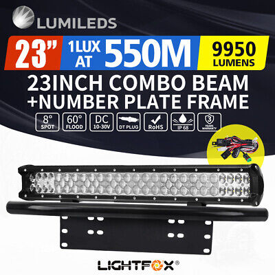 23inch Philips LED Light Bar Spot Flood W/ Plate Frame Offroad Driving Work 4x4