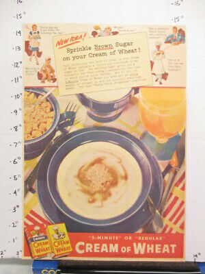 newspaper ad 1940s CREAM OF WHEAT cereal box breakfast Amer Weekly BROWN SUGAR
