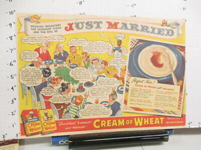 newspaper ad 1940s CREAM OF WHEAT cereal box comic WWII American Weekly WEDDING