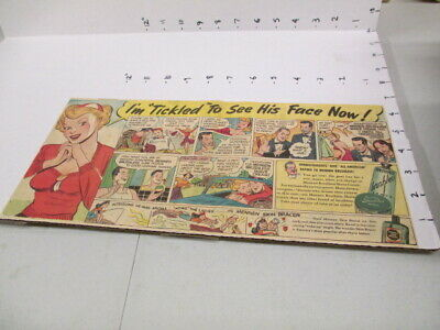 "newspaper ad 1940s MENNEN SHAVING CREAM Skin Bracer comic TICKLED ""he-man aroma"""