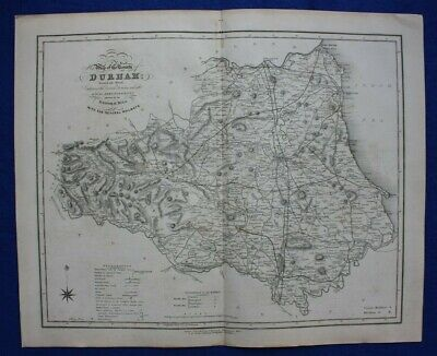 DURHAM original antique county map, Reform Bill, Ebden, Duncan, 1838
