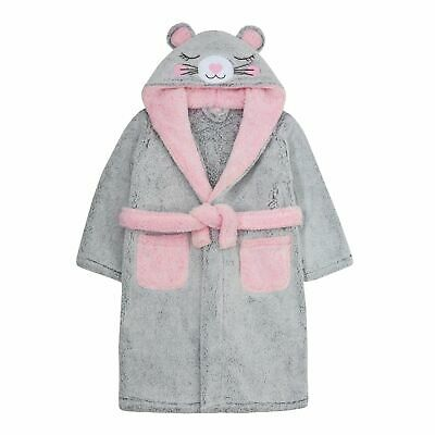 Girls Novelty 3D Mouse Hooded Fleece Dressing Gown Kids Plush Soft Grey Bathrobe
