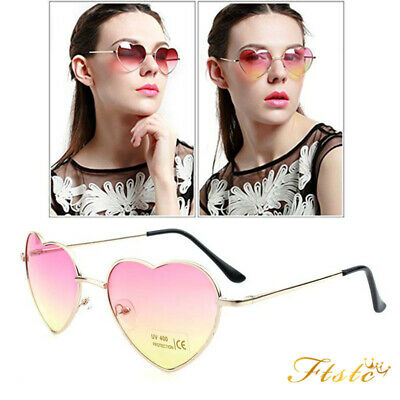 Girls UV400 Metal Frame Heart Shaped Sunglasses Gradient Shades Lens Polarized