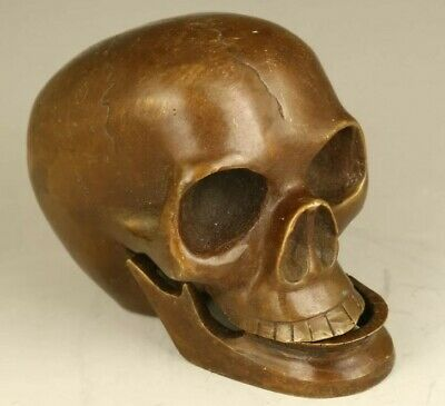 Chinese rare old bronze hand carved skull head statue cool home collectable gift