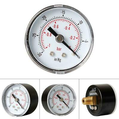 "Vacuum Gauge for Air Fuel Oil or Water 40mm 0/30""Hg & 0/-1 Bar 1/8"" BSPT Back X"