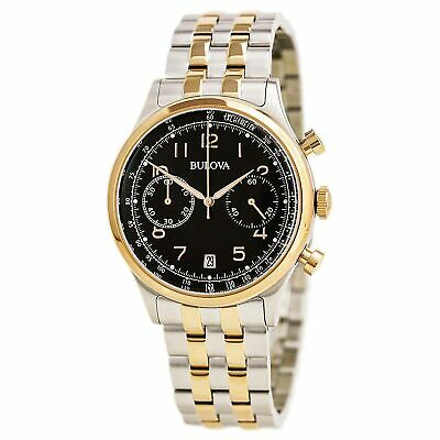 Bulova Men's Watch Vintage Chronograph Brown Dial Two Tone Steel Bracelet 98B248