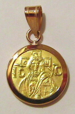 Christ first Byzantine coin icon Solid 22 Karat Gold Pendant Plain-back - SALE !