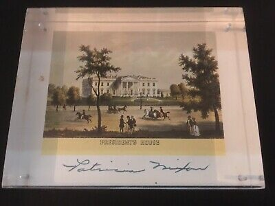 Pat Nixon Signed White House Print, Acrylic Paperweight