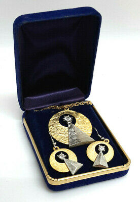Vintage Star Trek IDIC Jewelry Gift Set- Necklace & Earrings- Gold Plated in Box