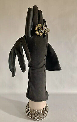 "Cornelia James Vintage 1950s Dark Grey 12"" Stretch Fabric Dress Gloves Size 7"