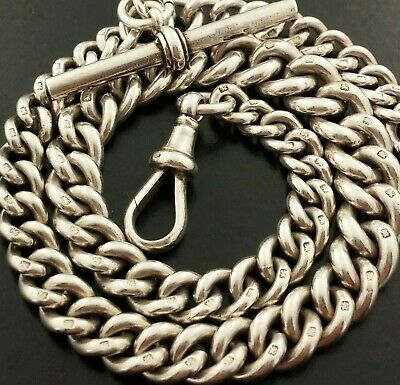 Heavy Antique English  Hallmarked Solid Silver Albert Pocket Watch Chain