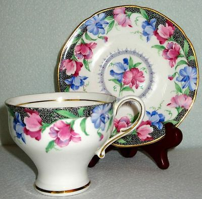 Paragon Lovely SWEET PEA Corset Fine Bone China Cup & Saucer ca 1950s