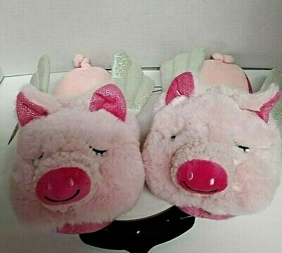 NEW Secret Treasures When Pigs Fly Pink Slippers & Silver tone Wings Ladies 7-8