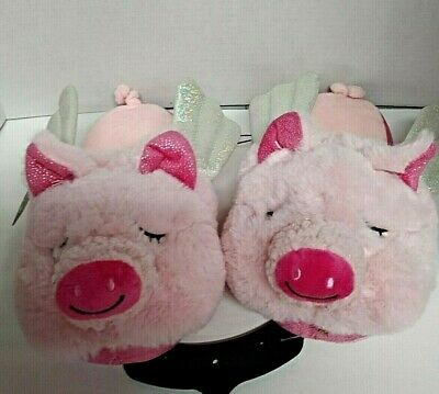 NEW Secret Treasures When Pigs Fly Pink Slippers & Silver tone Wings Ladies 5-6