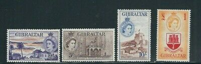 GIBRALTAR 1953 QEII definitives top 4 values only (Scott 142-45) VF MLH