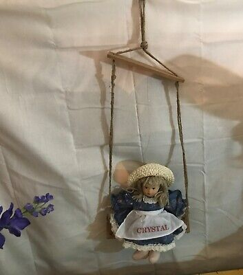 Rare Vintage Lilian Vernon Swinging Doll Hangs on swing Custom Name Crystal