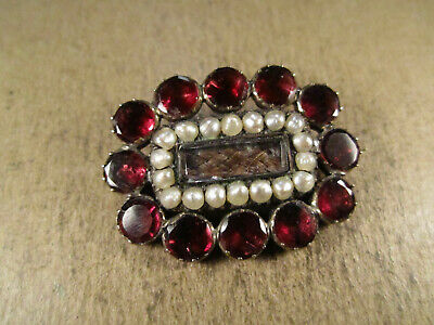 Antique Victorian/Georgian Solid 14k Gold & Garnet/Pearl Mourning Brooch, 5.9g