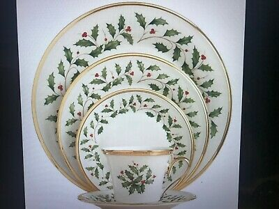 Lenox Holiday Dimension Collection 5-Pc Place Setting Gold Trim & Box Never Used
