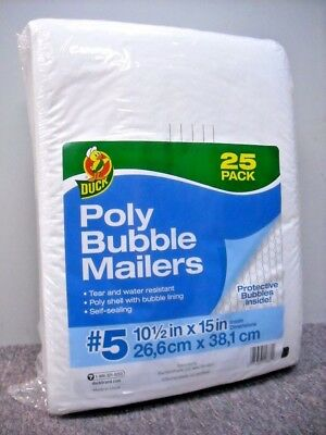 """NEW 25 Pack Size 5 Duck Brand Bubble Mailers 10.5"""" x 15"""" Padded Mailing Envelope"""