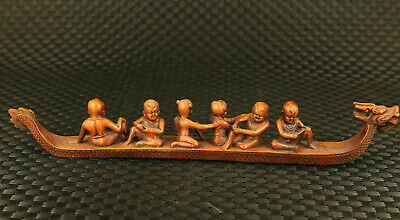 true to life boxwood Handcarved six child sit dragon boat statue delicacy gift
