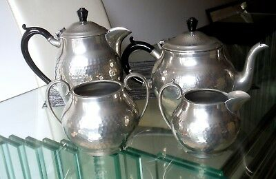 Four Pc Vintage Planished (Hammered) Pewter Tea Set-Craftsman ^