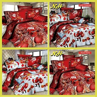 Father Christmas Winter Print Duvet Quilt Cover Bedding Set Pillowcases All Size