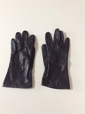 Ladies Vintage Navy Blue Leather Gloves Silk Lined