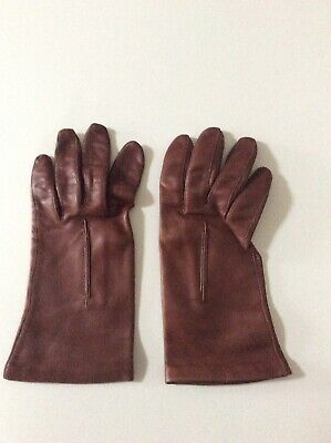 Ladies Vintage Brown Butter Soft Leather Gloves Silk Lined