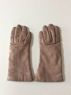 Ladies Vintage Light Brown Butter Soft Leather Gloves Cashmere Lined
