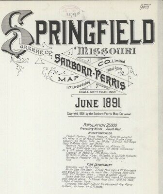 Springfield, Missouri~Sanborn Map©~sheets made in 1891 with 23 maps in color