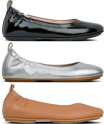 FitFlop ALLEGRO Ladies Womens Genuine Leather Slip On Ballerina Shoes Pumps