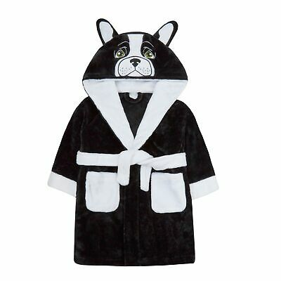 Boys Girls 3D French Bulldog Robe Hooded Fleece Dressing Gown Dress Up Bathrobe