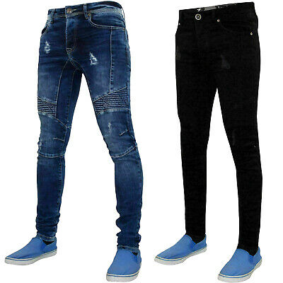 Mens Skinny Slim Fit Ripped Jeans Stretch Trousers Denim Pants Frayed Distressed