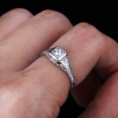 925 Sterling Silver Cubic Zirconia Antique Filigree Wedding Fine Ring Setting