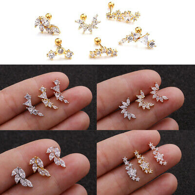 Gold Cz Zircon Stainless Steel Cartilage Ear Stud Piercing Earring Helix Tragus